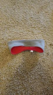 Headband ear warmers.. can be worn as red or grey