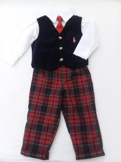 Boy's holiday vest and tie outfit 18 mo