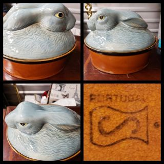 Rabbit Largw Serving Dish with Lid. Made in Portugal