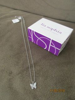 "Brand New Lia Sophia Little Girls Little Bit Butterfly Necklace 16"" to 19"" Silver with sparkles $5.00"