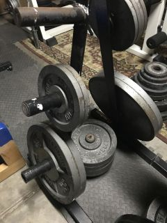 300lbs Standard Barbell olympic weight set & rack