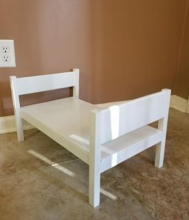 """White Solid Wood Doll Bed. 22"""" Long x 14"""" Wide x 12"""" Tall"""