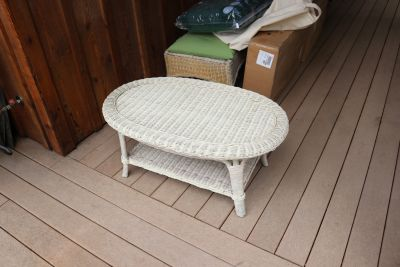 7 Piece Wicker Furniture Set with bottom cushions