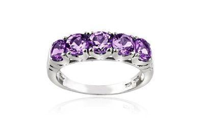 CLEARANCE ****BRAND NEW***1.25 CTTW Amethyst Half-Eternity Ring in Sterling Silver****SZ 6