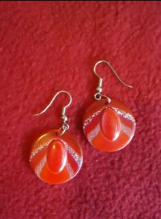 Red and silver dangle earrings