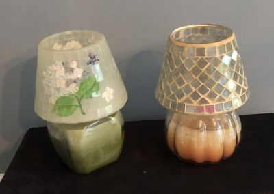 Translucent Glass & Glass Mosaic Candle Topper / Smoke Trapper; Jar Candle NOT included