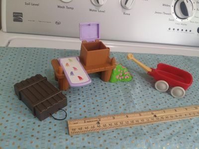 Vintage Fisher Price & Loving Family Wagon, Dock, Diving Board Doll Dollhouse