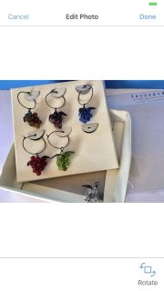 PotteryBarn Grape GlassWear Charms! Like New but missing one metal ring. Wine Glass Charms!