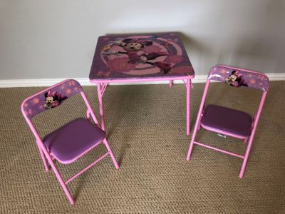 Mini Mouse Table and chairs. All 3 pieces fold flat for easy storage!