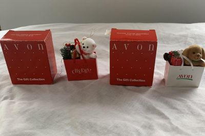 2-Avon Holiday Friend Ornaments-Teddy in Bag and Puppy in Bag-$3.00 each or both for $5.00