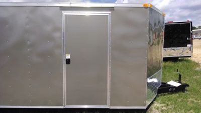 8.5 x 24 Encolsed Cargo Trailer Gray with Escape Door
