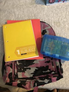 Backpack with various school supplies