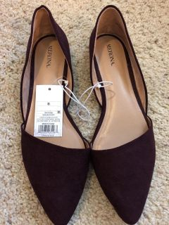 New Women s Burgundy Pointed-Toe Flats