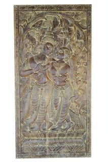 ANNUAL CLEARANCE SALE!!Antique Vintage Hand Carved Krishna Radha Carving Barn Door