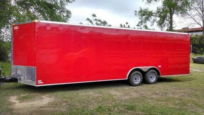 NEW 8.5X24 RED ENCLOSED CARGO TRAILER / CAR HAULER