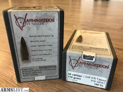 For Sale: Nosler Armageddon 30cal 110gr FB Tipped