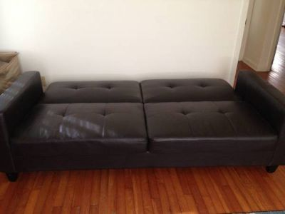 Modern Brown Faux Leather Futon - BedCouch