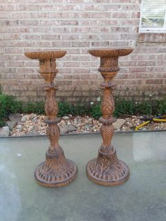 """Super heavy cast iron candle stands in excellent condition 15"""" tall"""