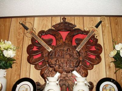 REDUCED Large Carved Wooden Crest with Two Swords
