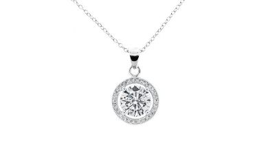 ***BRAND NEW***Swarovski Elements 6 CTW Round Halo Pendant***
