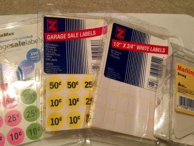 Garage sale labels, small white labels and marking tags(100-brand new)