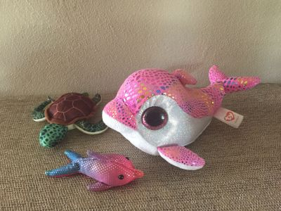 TY Sparkles baby weighted Dolphin and National Geographic Turtle