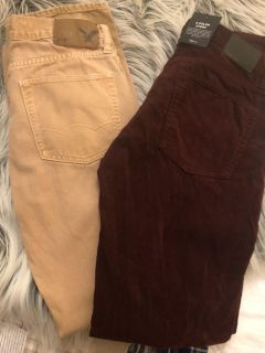 NWT Gap Burgandy Cords and American Eagle jeans