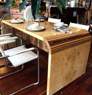 1970's Henredon Olive Burl Waterfall Desk/Table