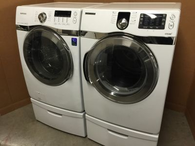 SAMSUNG FRONT LOAD STEAM WASHER&DRYER WITH PEDESTAL