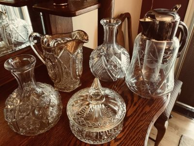Miscellaneous decanters and candy dish