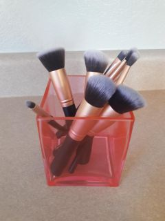 BS Mall Makeup Brushes from Amazon and pink container