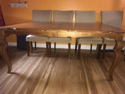 Wood table + 6 chairs
