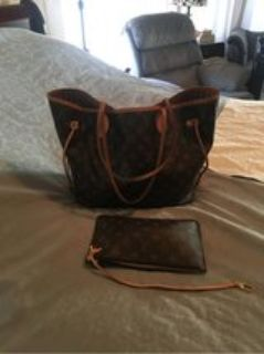 Louis Vuitton neverfull w/ make up bag