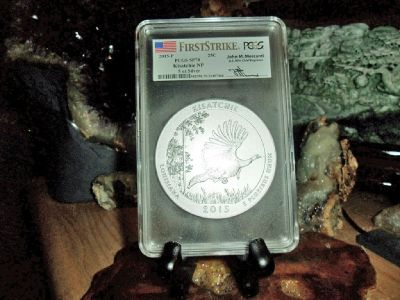 2015-P First Strike PCGS SP 70 KISATCHIE NATIONAL PARK 5 oz. SILVER QUARTER with JOHN M. MERCANTI