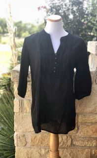 Womens Old Navy Airy Black 3/4 Sleeve Top - Sz L