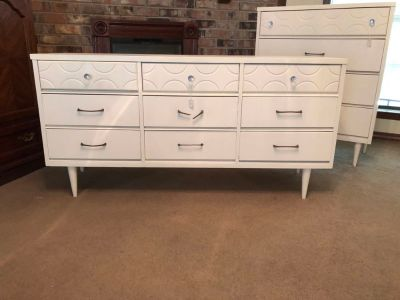 Cream color chest of drawers and dresser and mirror