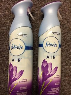 2 Bottles of febreeze air spring and renewal scent