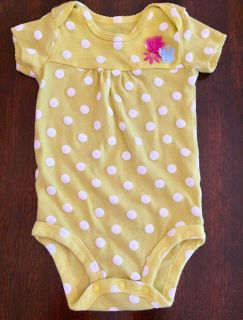 6mo girls short sleeved onesie with flower accent by Carter s