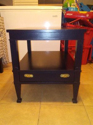One Vintage solid wood end table painted black satin original pulls
