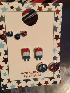 3 pair Memorial Day Fourth of July summer earrings NWT