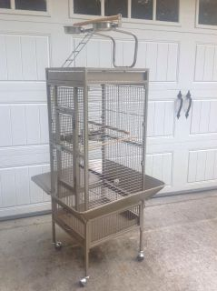 Large bird cage portable with rolling wheels