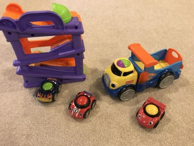 Fisher price toddler cars, truck and ramp
