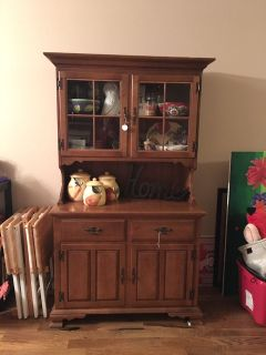 Solid wood China cabinet (buffet with hutch)