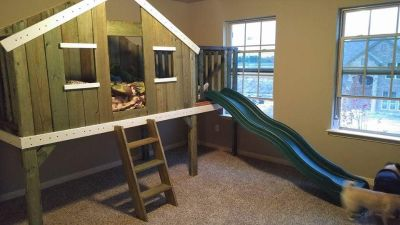 Treehouse bed with slide