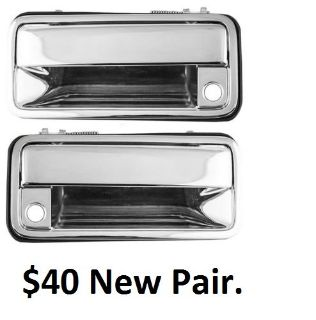New-Pair-Set-Outside-Outer-Front-Door-Handle-Chrome-Chevy-GMC-Pickup-Truck-SUV