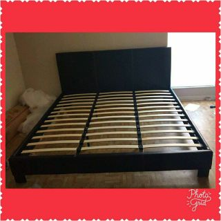 New King Size Black Leather Bed