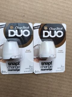 2 ChapStick Duo - both are .194 oz - new and unopened- fresh coconut Cross posted