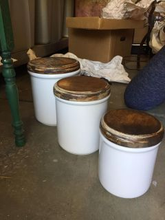 Set of 3 Farmhouse Chic Ceramic Canisters with Wood Lids