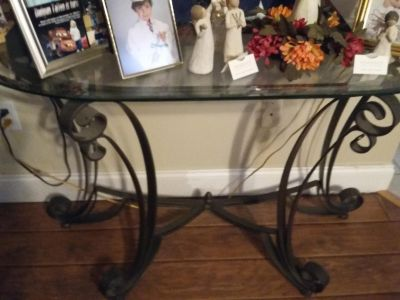 Rod iron sofa table two end tables one coffee table