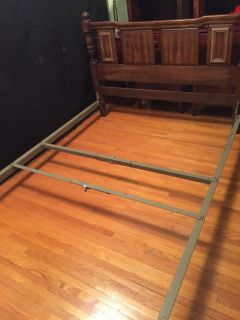 Full Size Wood Bed with Metal Side Rails comes with FREE Pillow Top Sealy Mattress & Box Springs